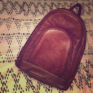 Oxblood leather mini backpack